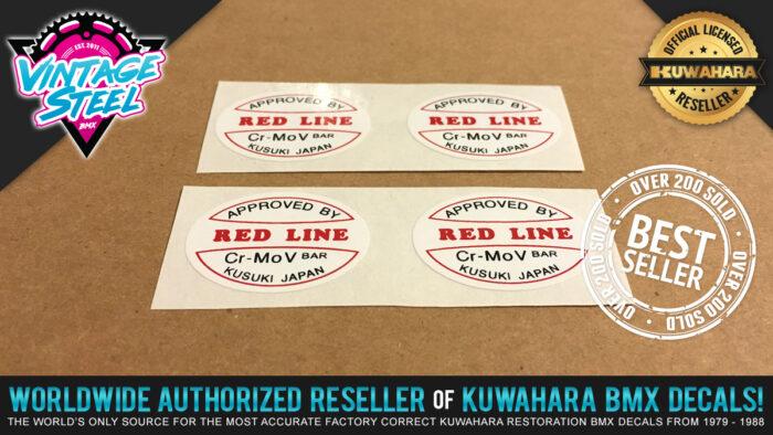Factory Correct Redline V-Bar Handlebar BMX Decal Stickers
