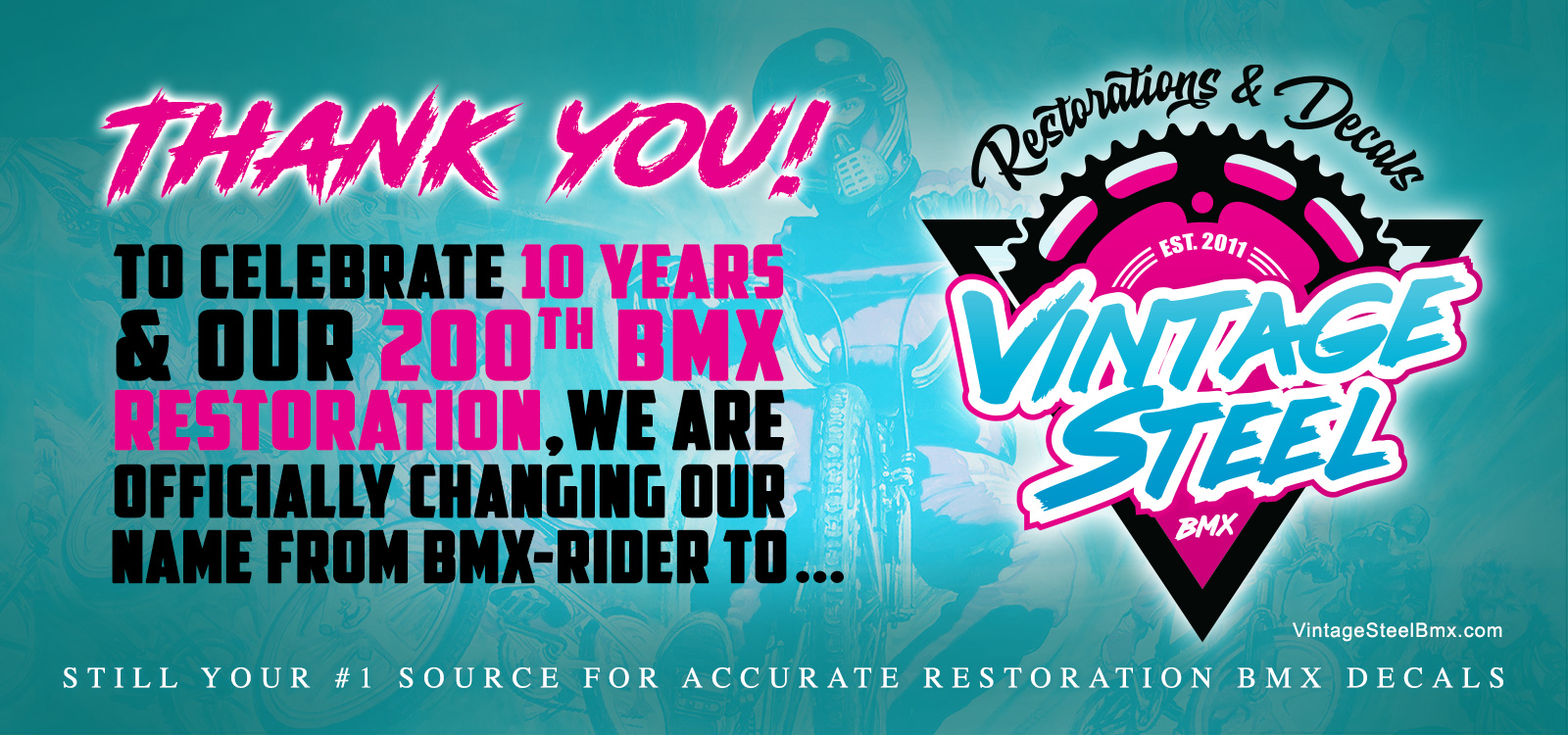 Our 10 Year Anniversary, 200th Vintage BMX Restoration & New Company Name!