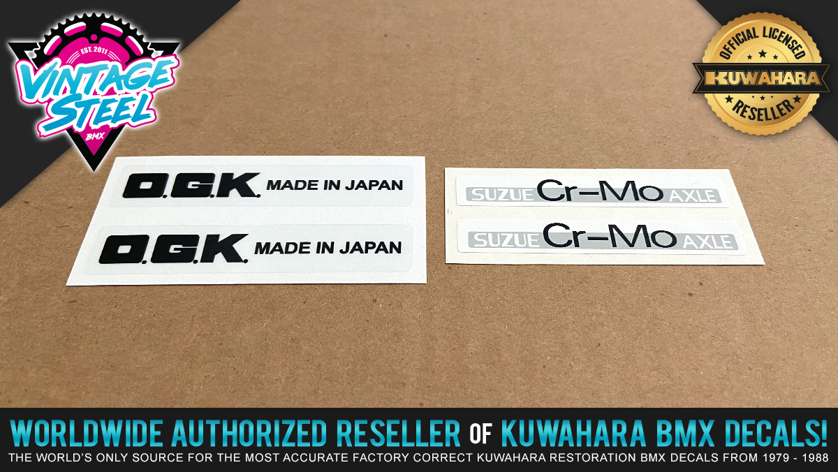 O.G.K. Japan Mag Wheel & Suzue Decal Set for Vintage BMX Freestyle Mags