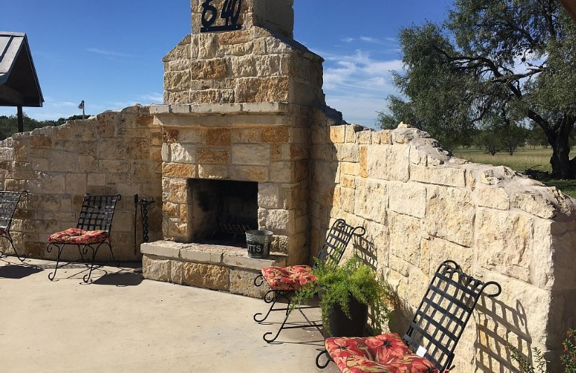 Outdoor Fireplace next to the pool