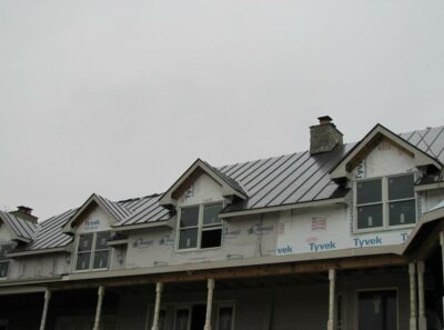 new home metal roofing install