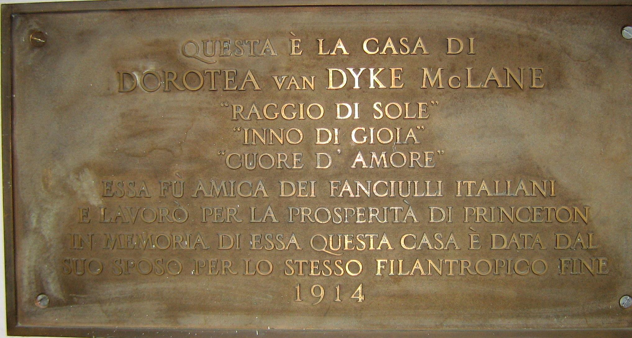 Memorial plaque in Dorothea's House in Italian