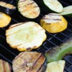 Grilled eggplant and veggies