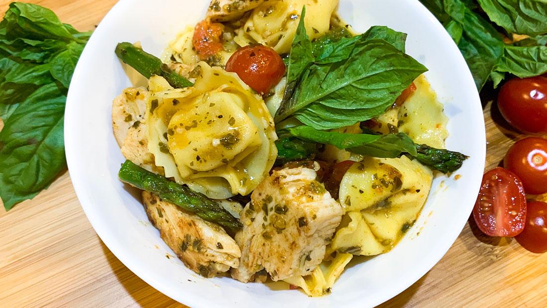 Pesto Chicken Tortellini with spring veggies