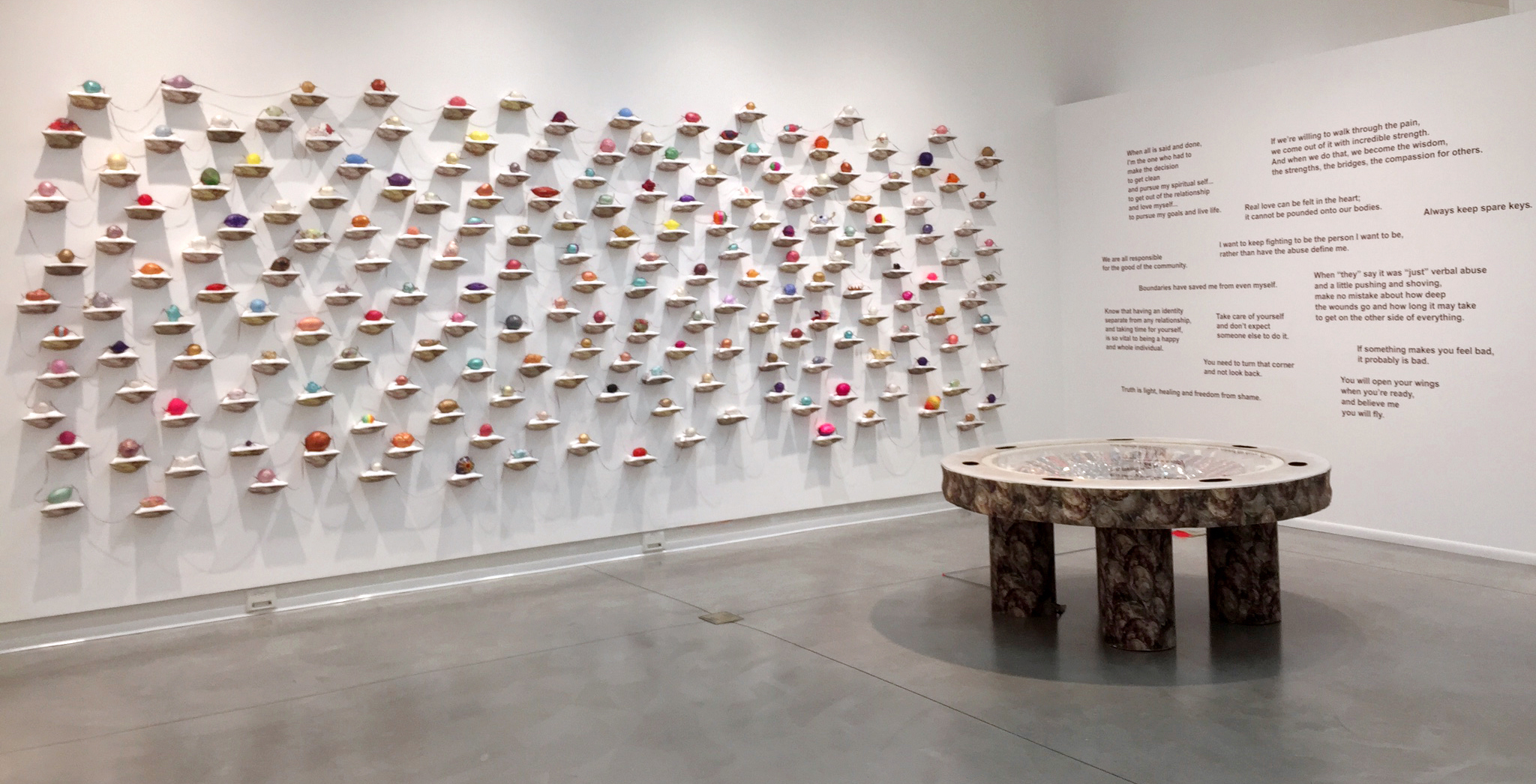 Pearls of Wisdom installed  at Orange Coast College gallery in 2017 for the exhibit, Kim Abeles: ˌterə ˈfɜːrmə