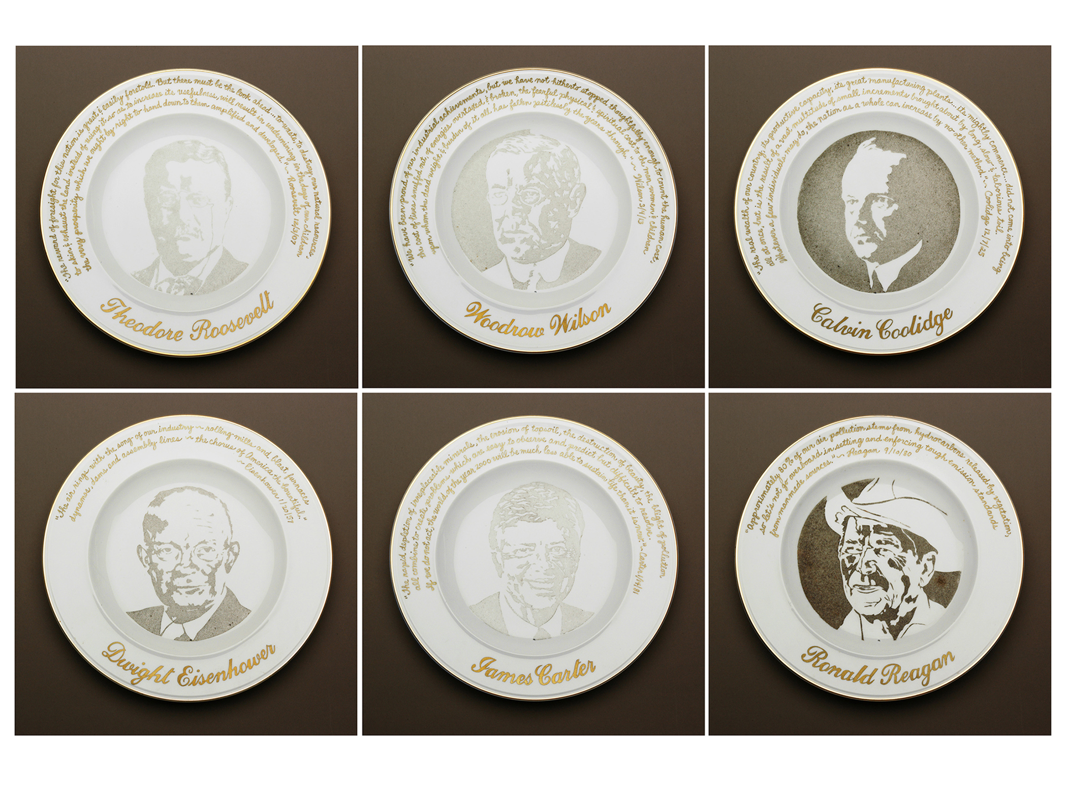 """""""Presidential Commemorative Smog Plates"""" (1992) Smog (particulate matter) on porcelain plates with their quotations about the environment and industry written in gold. The stenciled plates were left out longer, depending on the president's environmental records."""