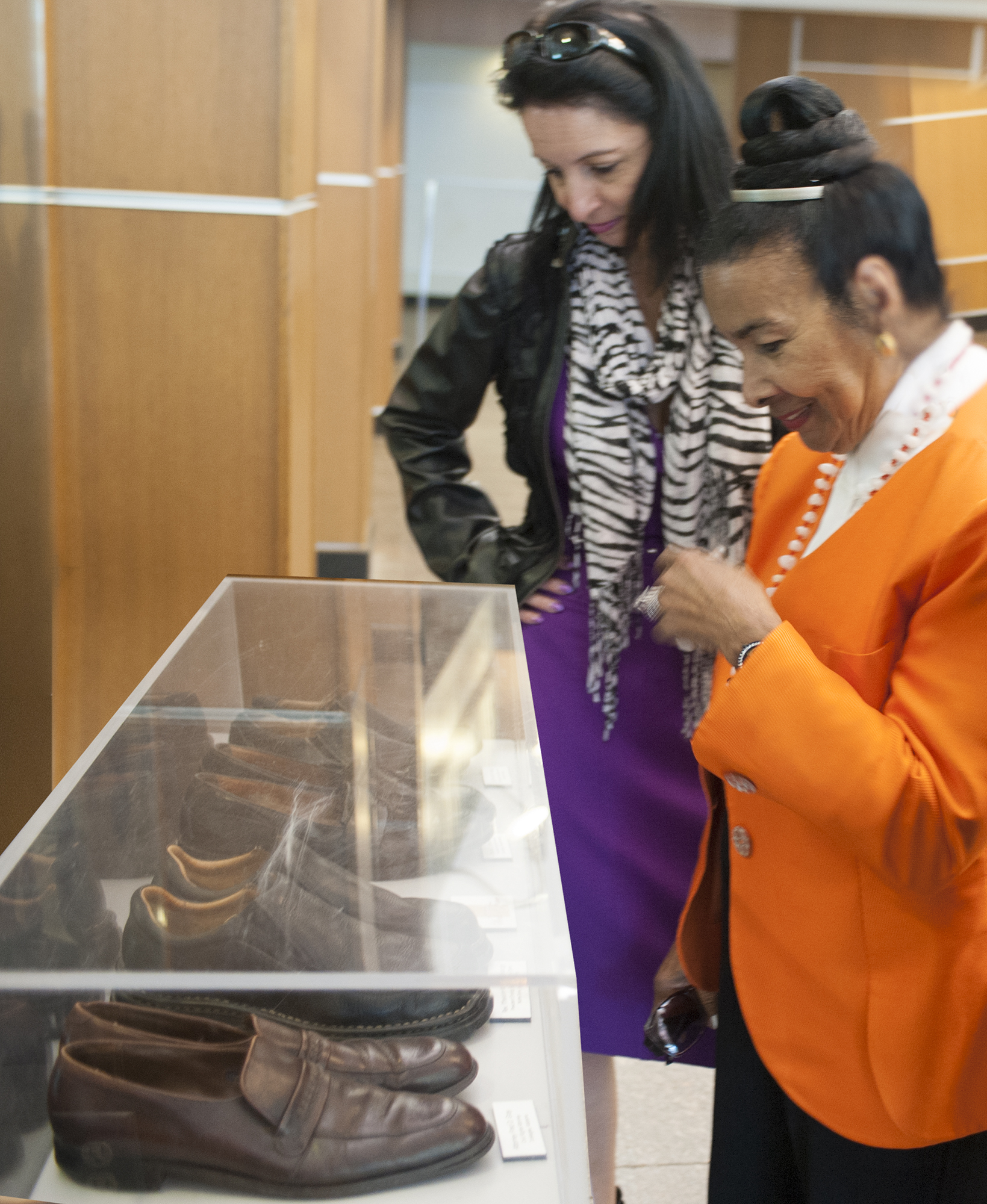 Xernona Clayton with selections from her collection on display at Martin Luther King Jr. National Historical Park, Atlanta