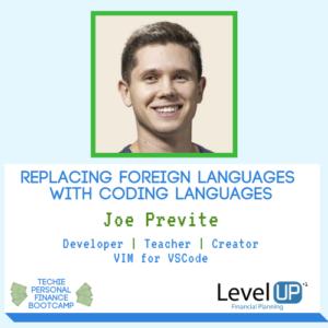 coding languages joe previte