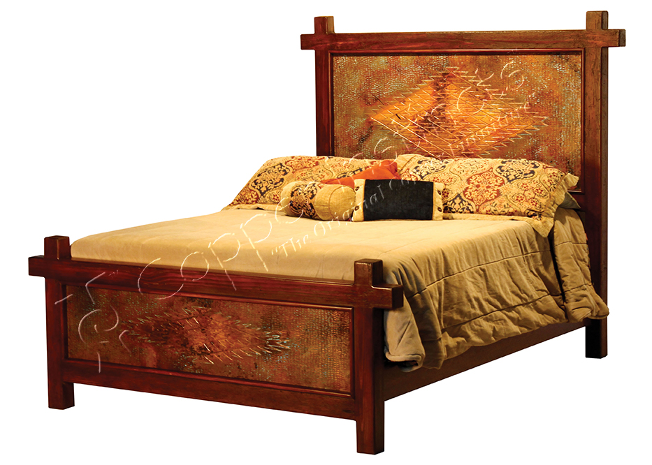 Gando Bed with Engraved Copper Panels