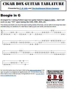 Boogie Woogie in G Cigar Box Guitar Tablature