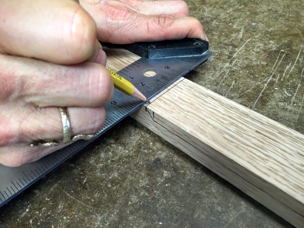 8 Draw line for bottom edge of straight headstock