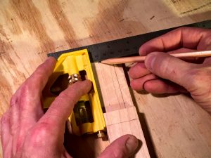 map the headstock for the tuning pegs