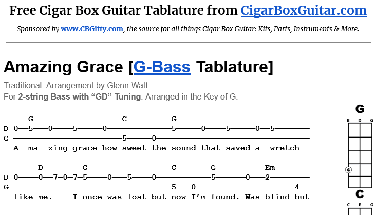 Amazing Grace 2-String G-Bass Tablature