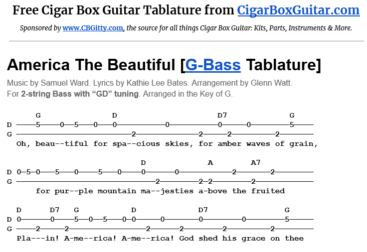 America The Beautiful 2-String G-Bass Tablature