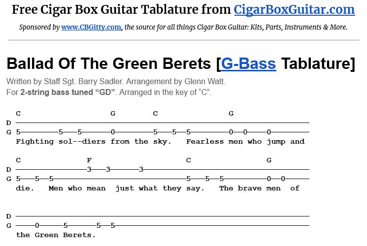 Ballad Of The Green Berets 2-String G-Bass Tablature