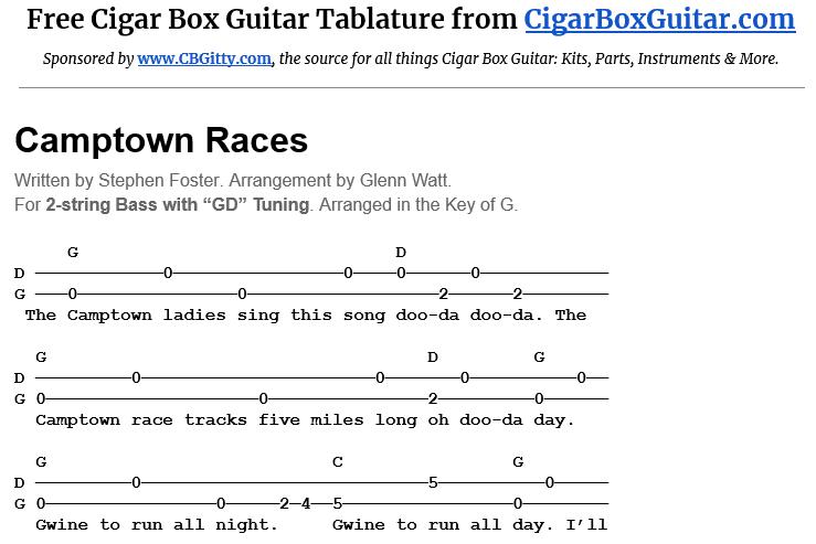 Camptown Races 2-String G-Bass Tablature