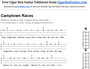 Camptown Races 3-String Cigar Box Guitar Tablature