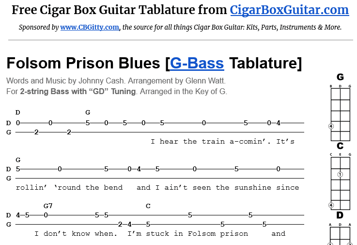 Folsom Prison Blues 2-String G-Bass Tablature