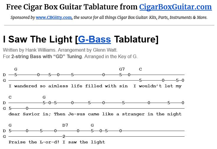 I Saw The Light 2-String G-Bass Tablature