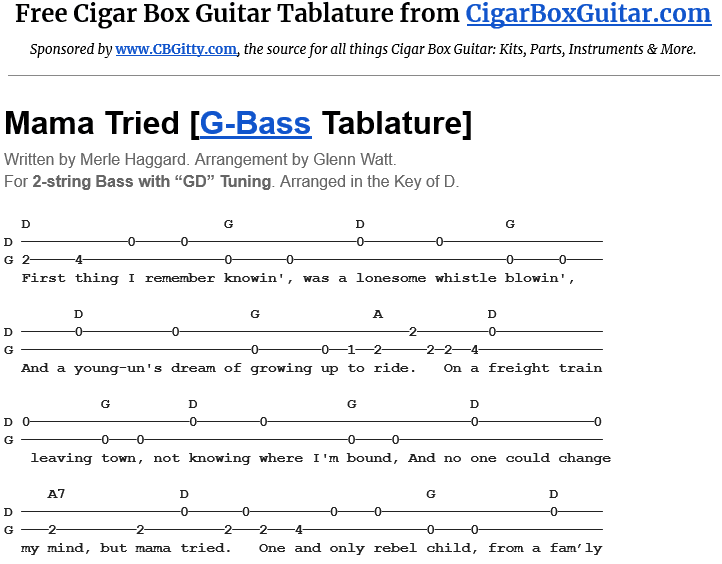Mama Tried 2-String Bass Tablature