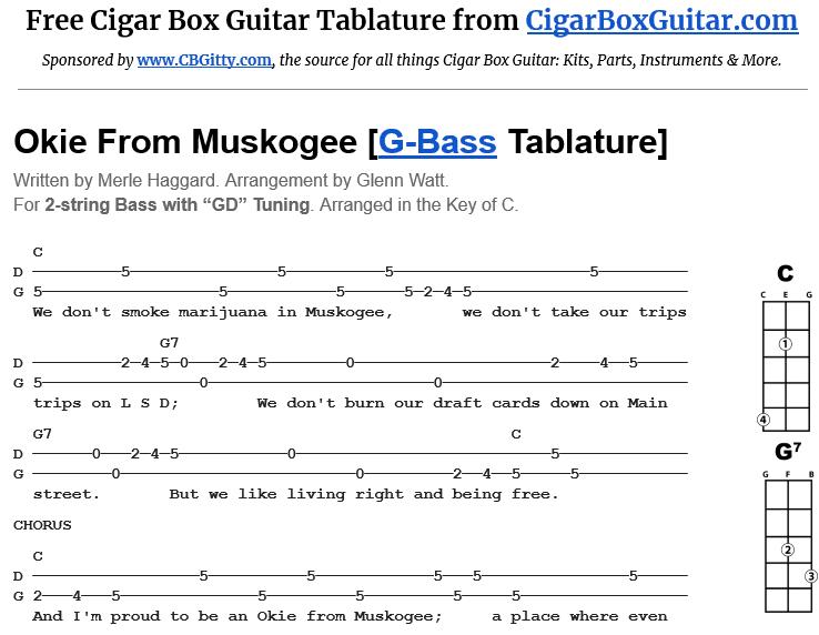 Okie From Muskogee 2-String Bass Tablature