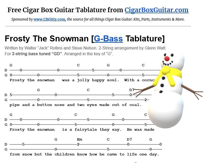 Frosty The Snowman 2-string G-Bass tablature