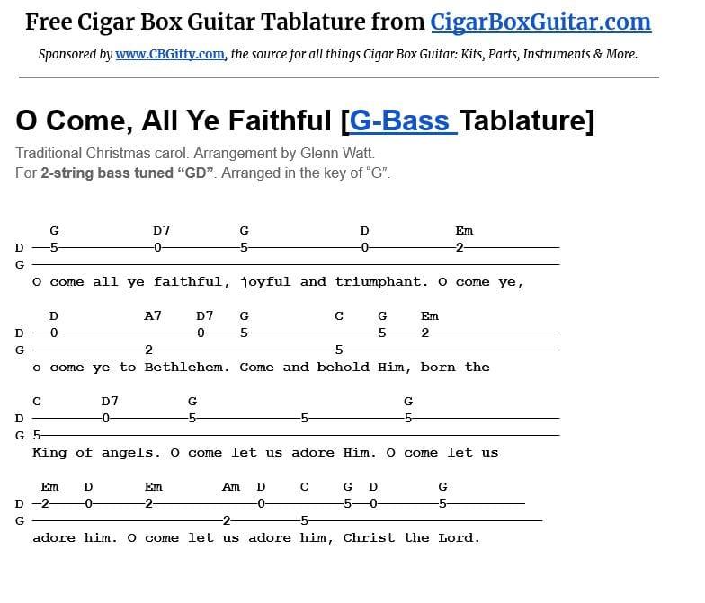 O Come All Ye Faithful 2-string G-Bass tablature image