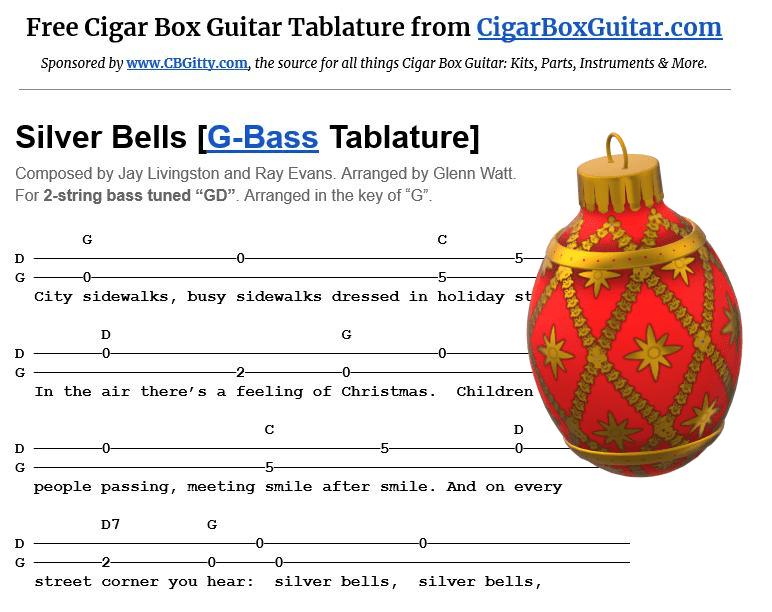 Silver Bells 2-string G-Bass tablature