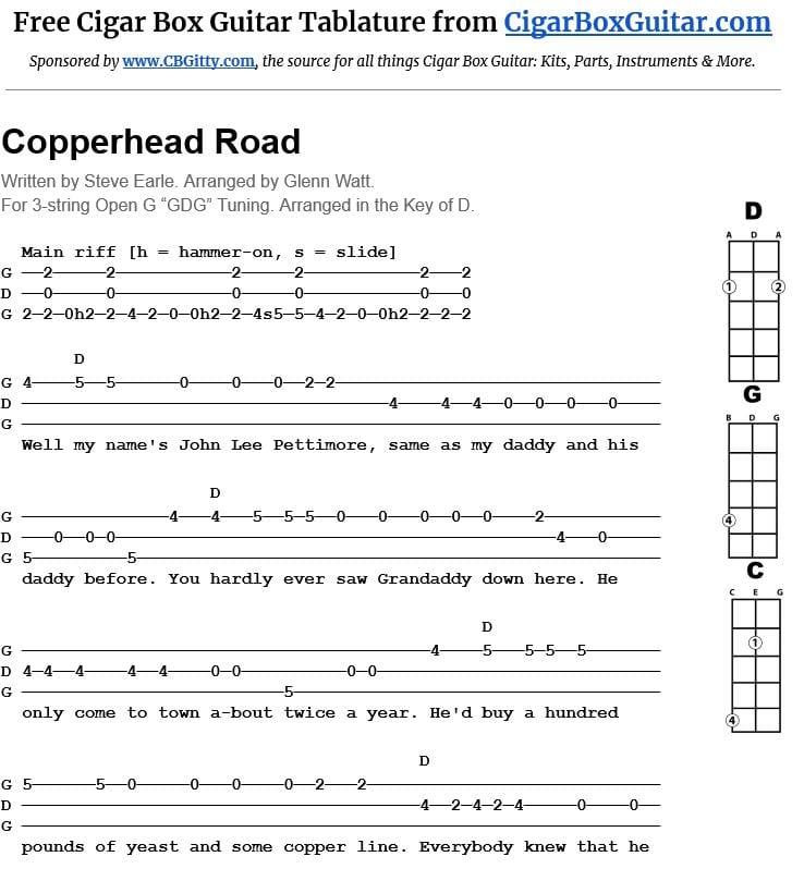Copperhead Road 3-string cigar box guitar tablature