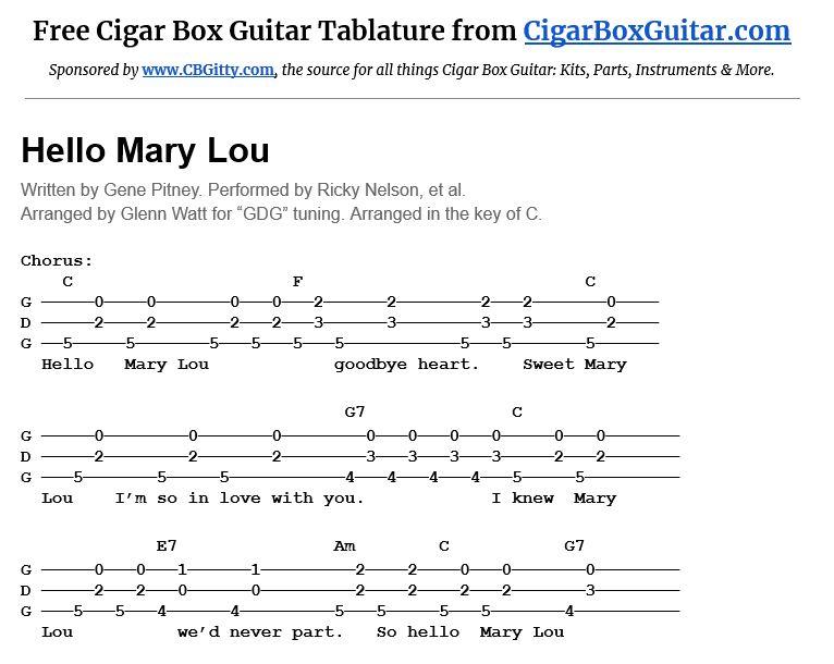 Hello Mary Lou 3-string cigar box guitar tablature