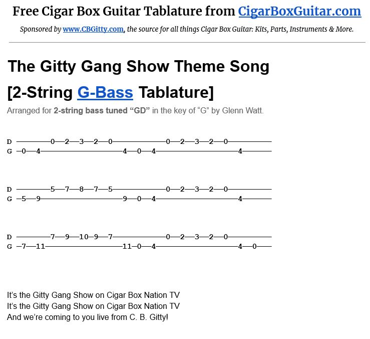 The Gitty Gang Show Theme Song 2-String G-Bass Tablature Image