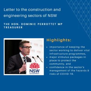 Letter from Treasurer to the Construction and Engineering sectors