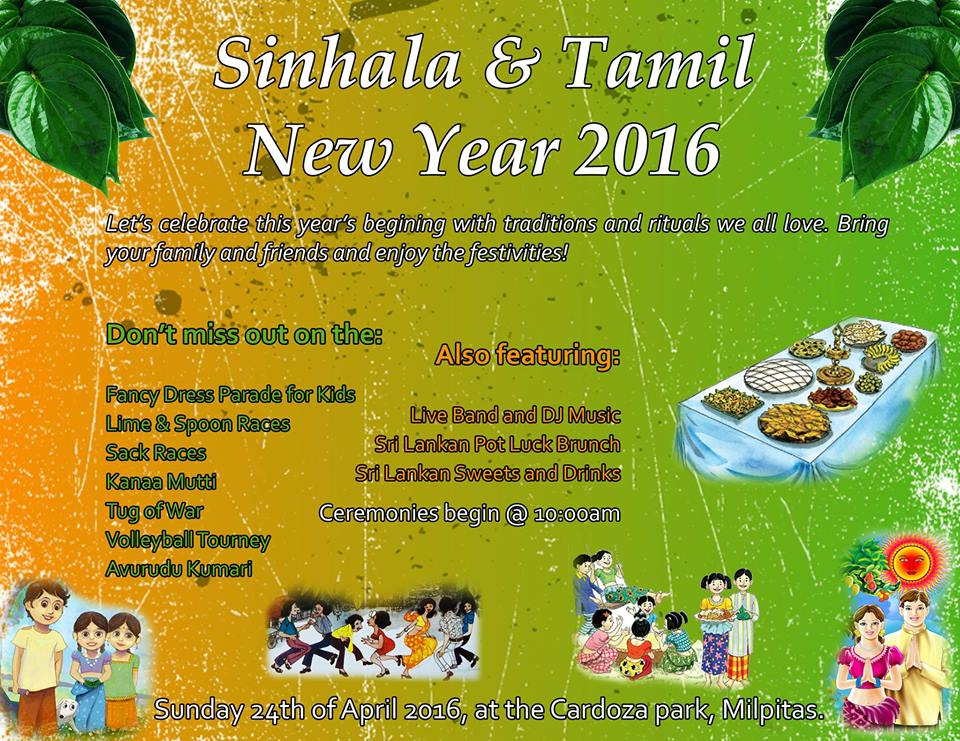 Sinhala Tamil New Year Celebrations 2016 – Sun.24th April in Milpitas.