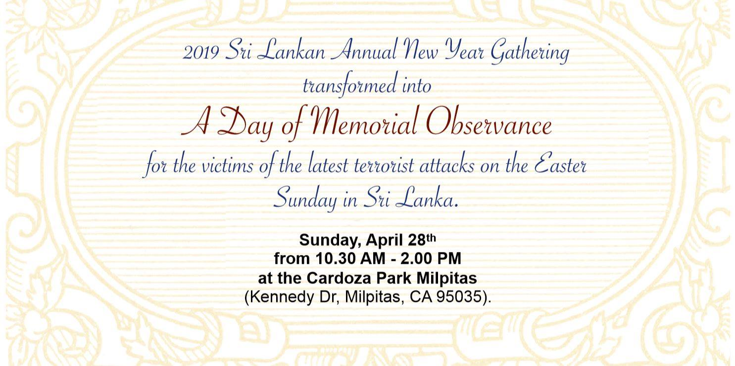 2019 Sri Lankan Annual New Year Gathering – A Day of Memorial Observance (10.30 AM – 2.00 PM) !!!