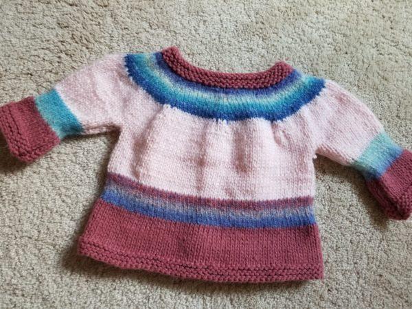 pink yoled cardigan