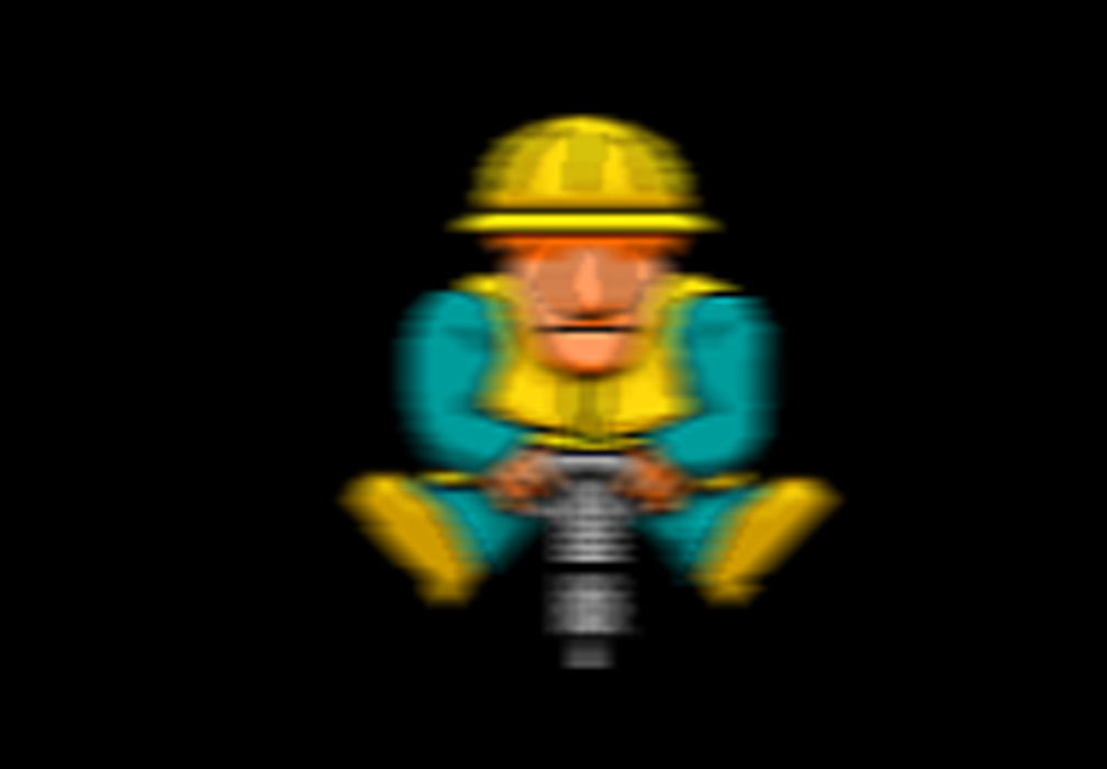 Person with jack hammer