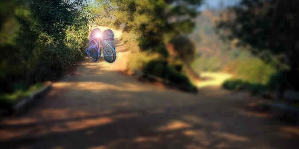 Hiking sandals on trail.