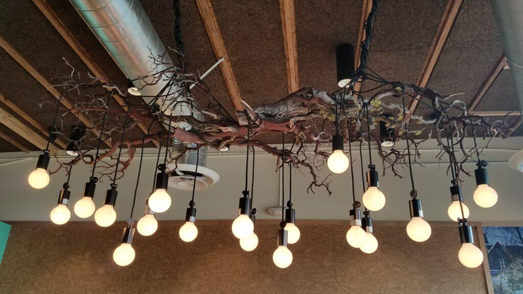 Overhead Light Fixture with Many Bulbs
