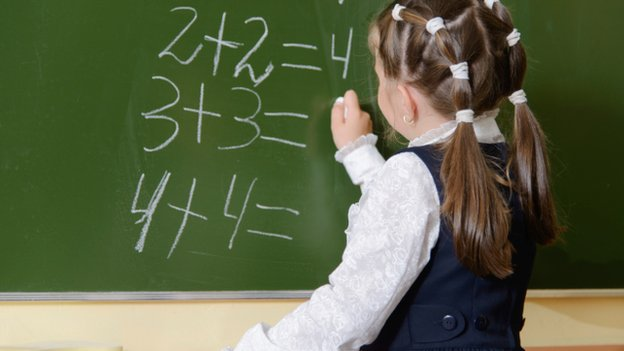 A girl doing math problems on a chalk board