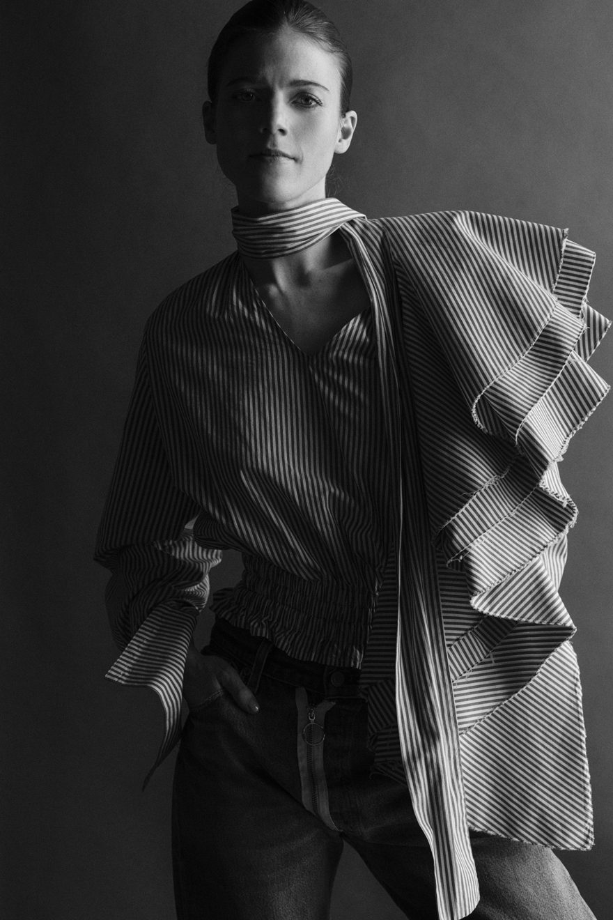 Rose Leslie wearing Off White for MONROWE Magazine. Black and white photography by Krisztian Eder.