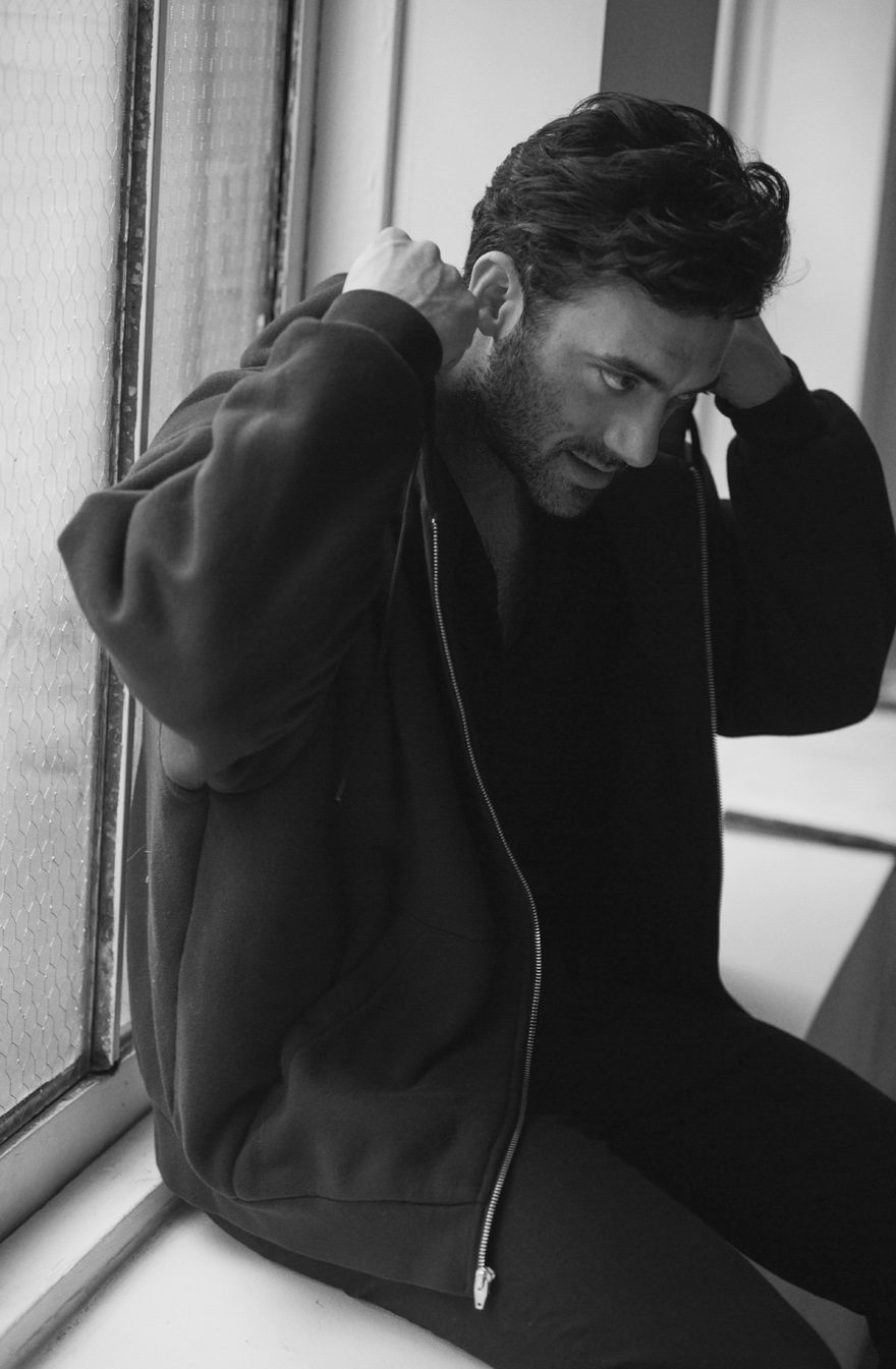Morgan Spector wearing T By Alexander Wang, John Varvatos, and Robert Geller for MONROWE Magazine 2017. Black and white photography by Anthony Batista.