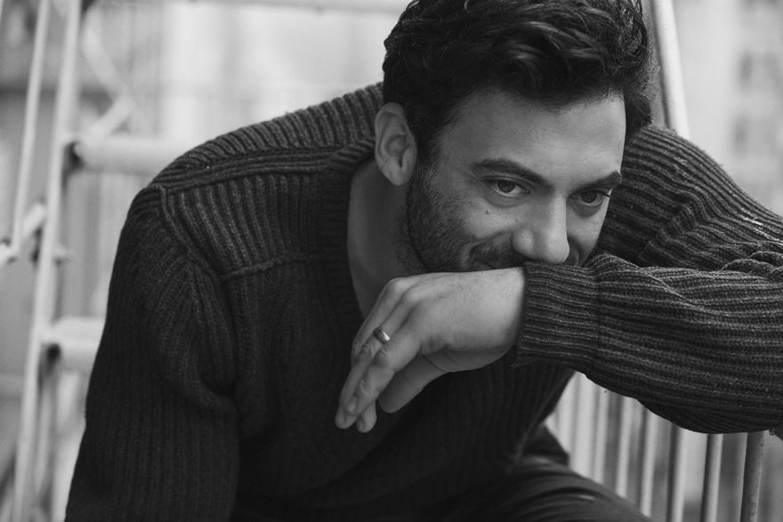 Morgan Spector wearing Lanvin and Issey Miyake for MONROWE Magazine 2017. Black and white photography by Anthony Batista.