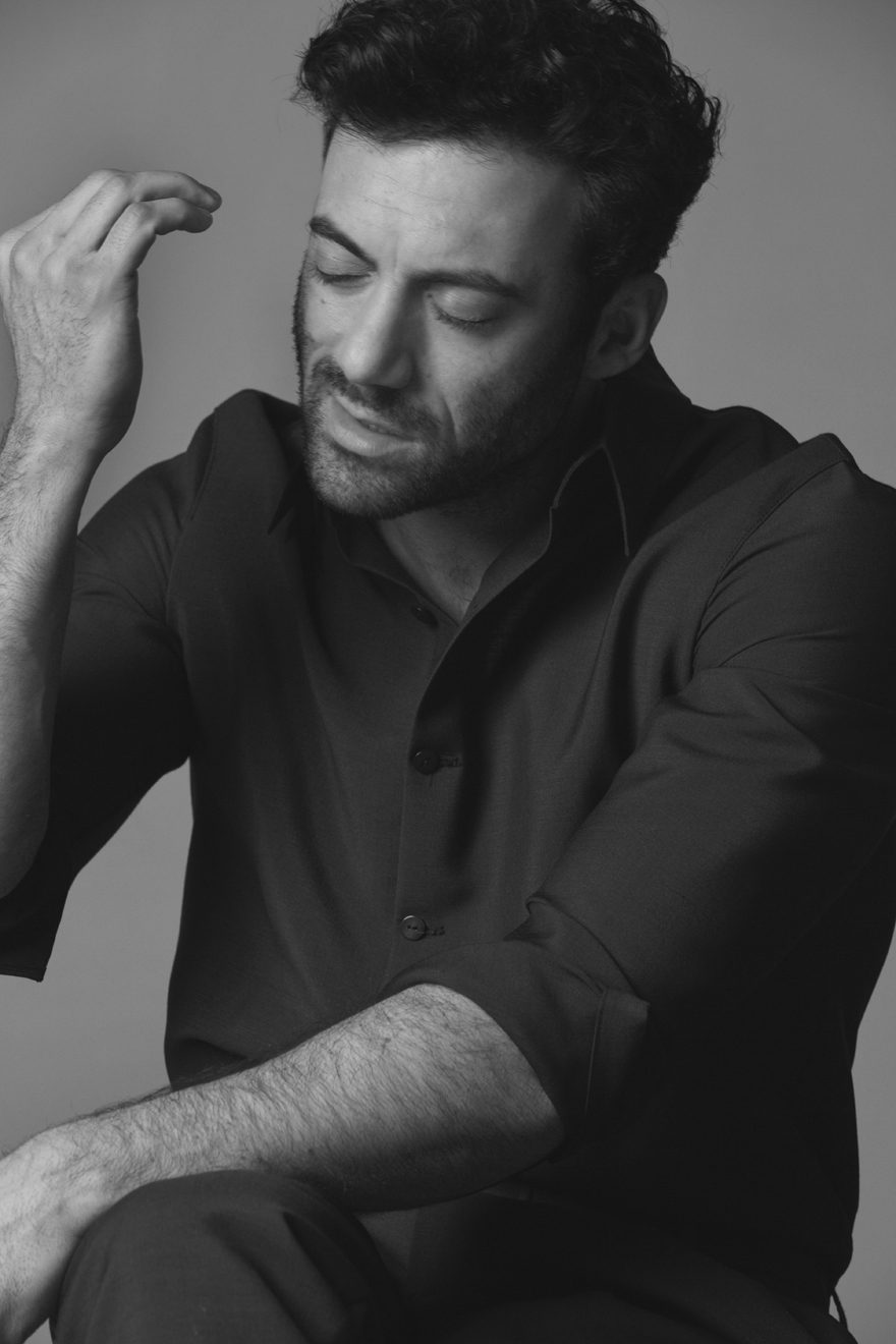 Morgan Spector wearing Emporio Armani for MONROWE Magazine 2017. Black and white photography by Anthony Batista.