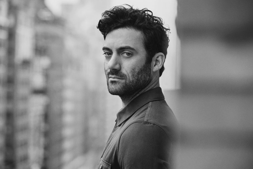 Morgan Spector wearing Prada for MONROWE Magazine 2017. Black and white photography by Anthony Batista.