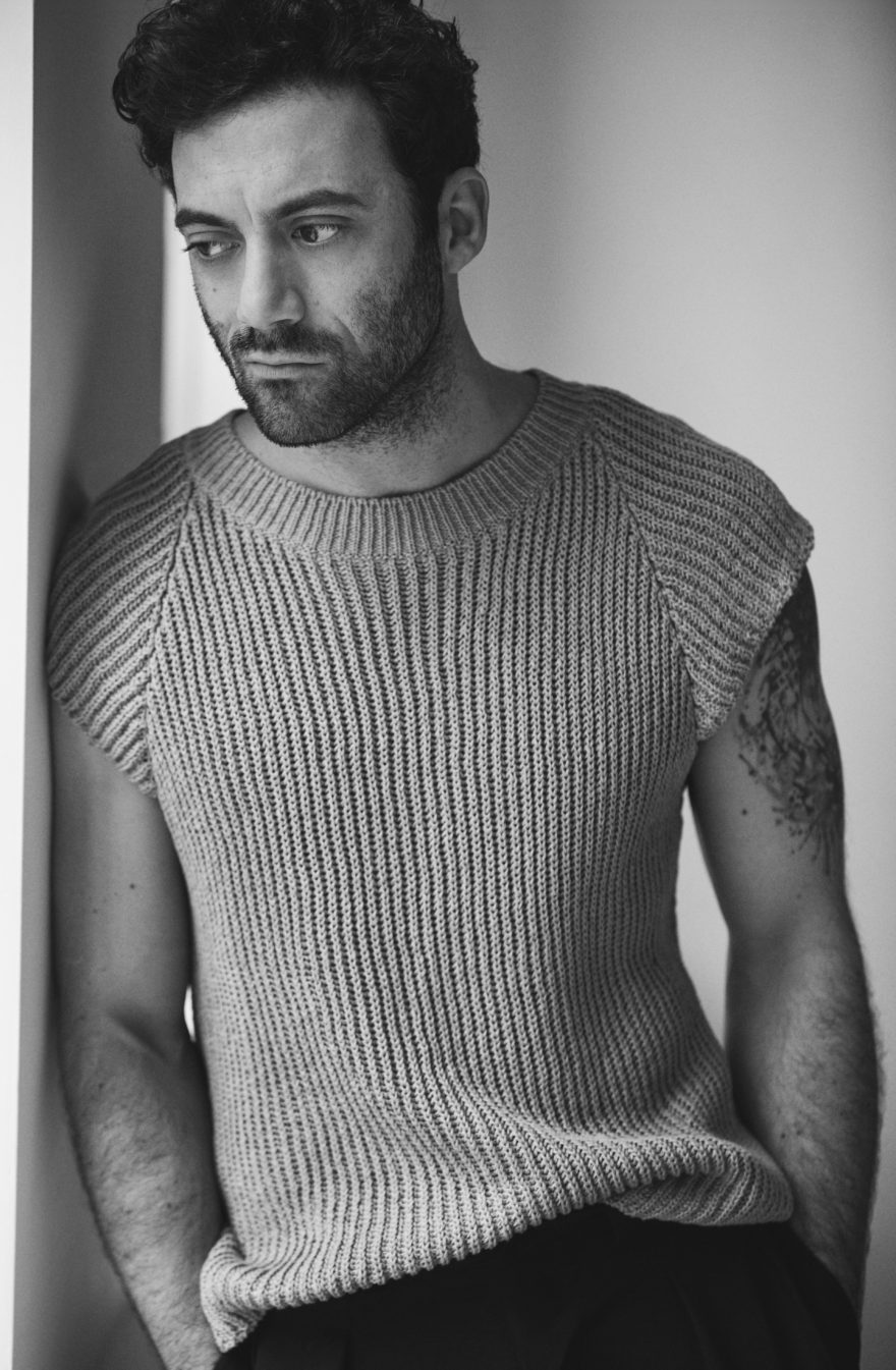 Morgan Spector wearing Jil Sander and Yohji Yamamoto for MONROWE Magazine 2017. Black and white photography by Anthony Batista.