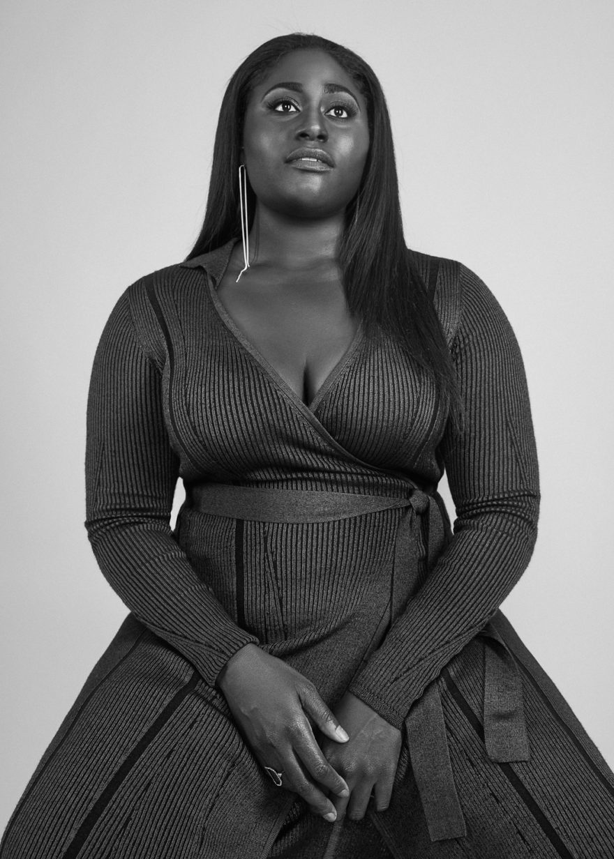 Danielle Brooks wearing a DVF dress for MONROWE Magazine. Black and white photography by Lucas Cristino.