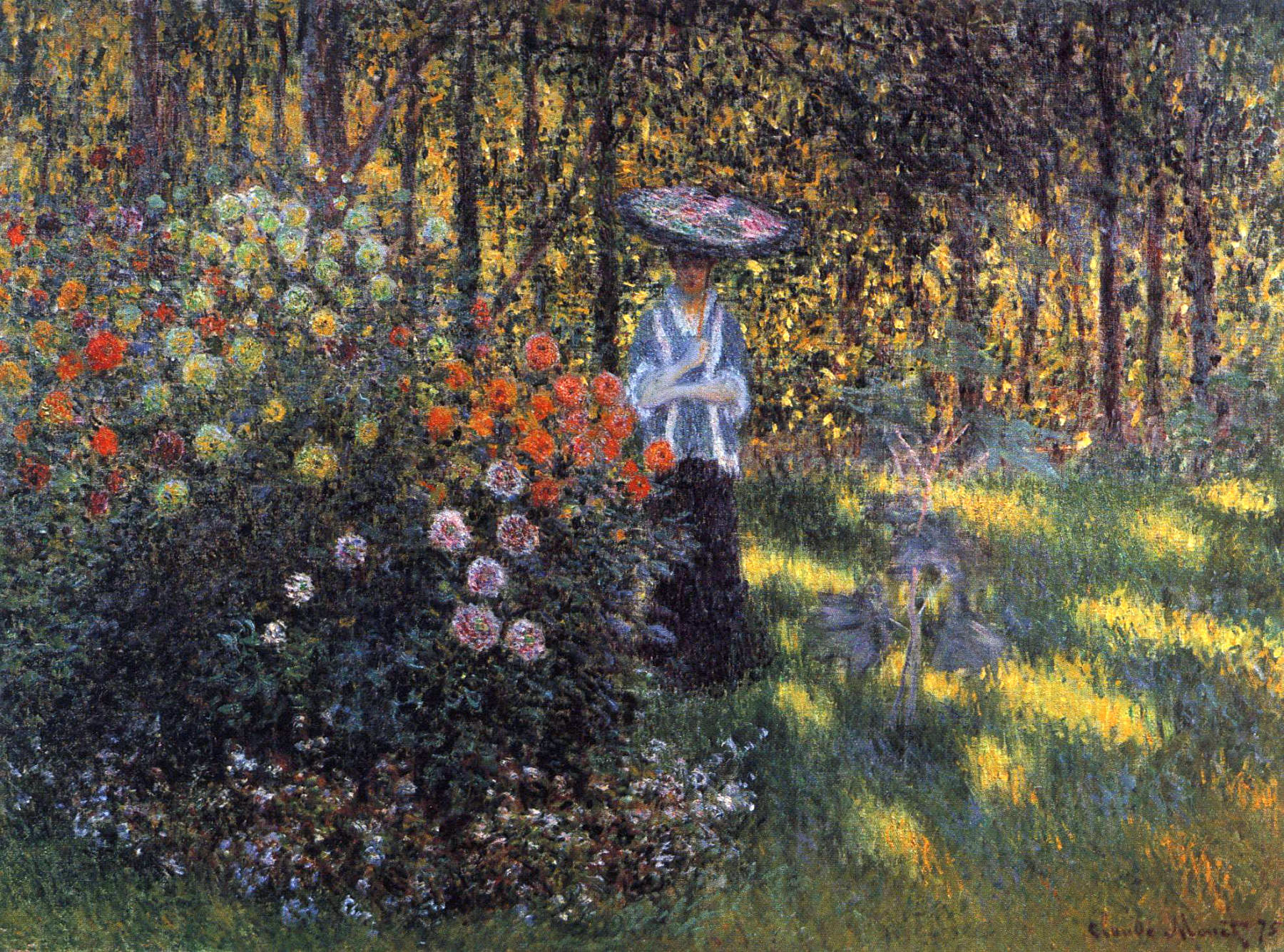 Image of Woman withParasol in a Garden.