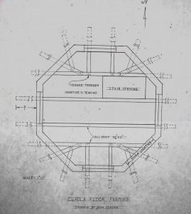 Fig. 11. Cupola floor framing plan by Don Jordan