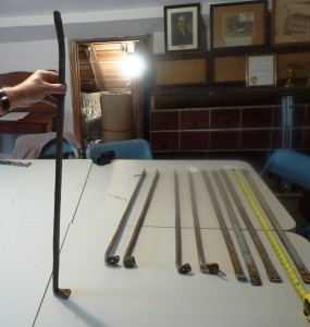 Fig. 14. Wrought iron bars discovered in the Cupola House attic.  Photos courtesy of Dennis O'Neill