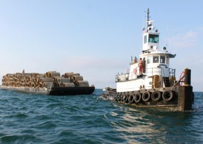 Culverts deployed off the coast of Mississippi to be artificial reefs.